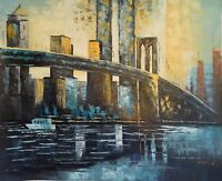 "Majestic Brooklyn Bridge Original Oil Painting On Canvas Hand signed 20"" x 24"""