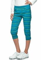 Women's Oakley Golf Palm Plaid Capri Pants Aurora Blue Magenta Purple Size 10 12
