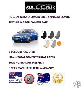 Sheepskin Car Seatcovers for Holden Insignia ,5 colours, Seat Airbag Safe 30mmTC