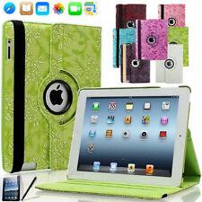 iPad 2 iPad 3 iPad 4 Blumen Schutzhülle 360° Tasche PU-Leder Smart Cover Case
