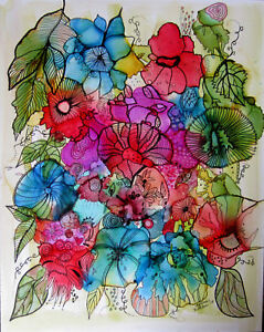 """Art Print 5x7"""" flowers colorful with outlining by Lynne Kohler"""