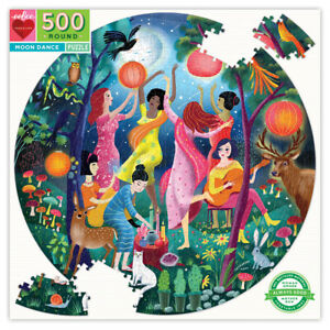 Eeboo Moon Dance Round Puzzle 500 Piece Kids Toy Family Puzzle 04360