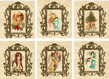 Vintage inspired Christmas tea bag envelope party favors gift Angel set of 6 r