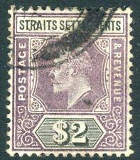STRAITS SETTLEMENTS-1902 $2 Dull Purple & Black Sg 120  GOOD USED V18539
