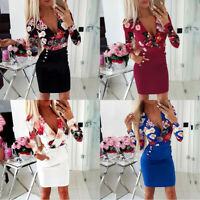 Dress Long Sleeve Ladies Womens Evening Party Floral Bodycon SEXY Mini Dresses