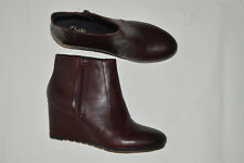 CLARKS artisan leather ankle boots brown side zip high wedge size 9.5 m