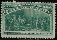 1893 SC #238 Mint F - 15c dark green Columbus H NG - CV $225.00 (43021)