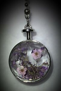 Handcrafted Faceted Resin Gypsophila Flower Floral Silver Ceiling Fan Pull
