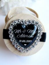 Black Heart Personalised Wooden Wedding Ring Box Custom Names & Date Diamanté