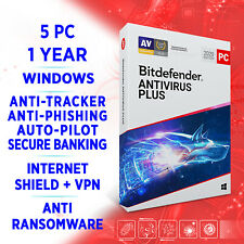 Bitdefender Antivirus Plus 2021 5 PC 1 year FULL EDITION +VPN / Windows