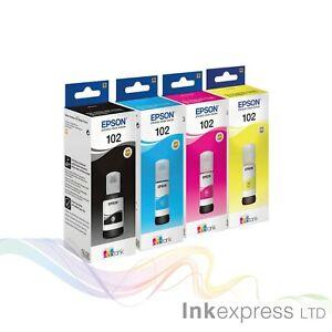 Epson Genuine 102 Ecotank Ink Bottle Refill Full Set for ET2750/ ET3750/ ET15000