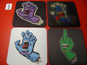 4 x Neoprene Drink Coasters 10cm SANTA CRUZ SCREAMING HAND YOUR DESIGN OR LOGO