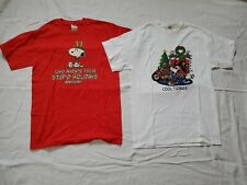 2 Men's Snoppy Christmas T-Shirts Sz Medium  New
