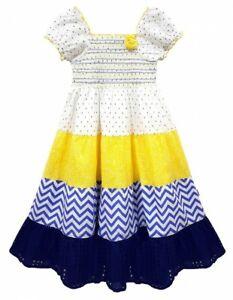 Girls Kids Beautiful Lemon Floral Print Tiered Girls Gypsy Dress Age 3-11 Year
