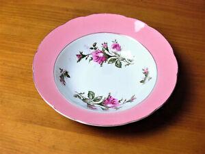 """Vintage 9"""" Porcelain Rose Motif Soup/Serving Bowl W/Wide Rose Color Band/Japan"""