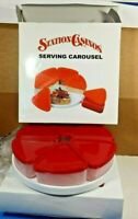 2 SETS SERVING APPETIZER CUPS ON CAROUSEL LAZY SUSAN RED HOLIDAY PARTIES NIB
