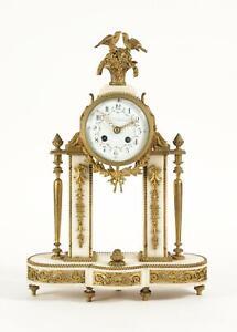 J. E. Caldwell Philadelphia Gilt Bronze & Marble Mantel Clock w/ Birds & Flowers
