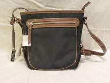Chaps Black Canvas Leather Shoulder Cross Body Messenger Bag Womens Purse   179 c450478b73d92