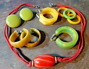 Vintage Earring Ring And Necklace Bakelite Jewelry Lot