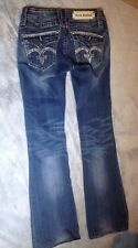 C012 Rock Revival Women's Blue Jeans Sasha Boot Cut Stretch Bling Size 26