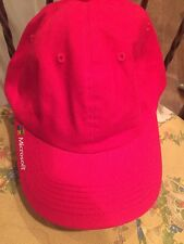 NEW MICROSOFT ADJUSTABLE BASEBALL STYLE CAP COLLECTOR'S HAT RED sample RARE