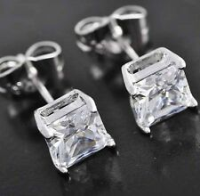 PRINCESS CUT EARRINGS 2.50CT. LAB DIAMOND STUDS 14K WHITE GOLD SQUARE SOLITAIRE