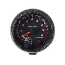 "3.75"" Car Universal  carbon fibre Tachometer Gauge White Inter Shift light P7L6"