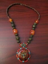 Ladies Chunky Statement Necklace with Amber Colour Beads and Wood Beads
