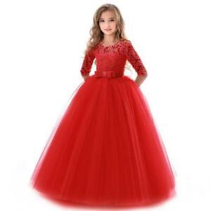 2021 Girls Long Dress Kids Princess Party Wedding Bridesmaid Formal Gown