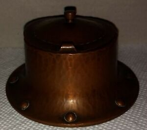 Antique Signed Roycroft Hand Hammered Copper Round Inkwell W/Hinged Lid ExCond