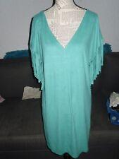 Robe droite suédine verte frange femme EMA BLUE'S taille 44