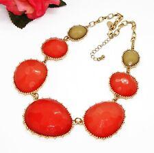 Pretty! Signed C Goldtone Orange & Green Faceted Acrylic Rhinestones Necklace!