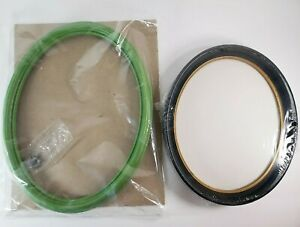 Vtg 2 Oval Picture Frames No Glass Plastic Green Black Sewing Embroider Craft