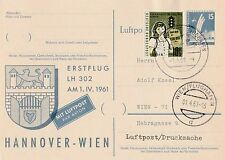 Postkarte Erstflug LH 302 am 1.IV.1961 Hannover-Wien