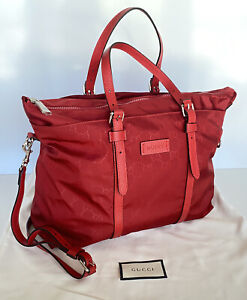 New Gucci Nylon Tote Guccissima Red Shoulder Bag Made in Italy