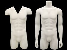 Adult Male Matte White Invisible Ghost Mannequin 3/4 Body Torso with Base