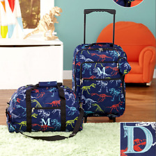 Luggage for Kids Boys Set Small Rolling Suitcase Duffel Bag Dinosaur Letter D