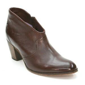 Johnston & Murphy Ladies 7 M Brown Leather Side Zip Ankle Western Booties