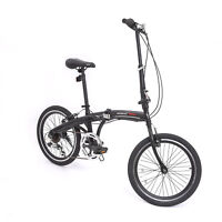 "20"" Mini Folding Bike 6 Speed Bicycle Fold Storage Shimano School Sports Black"