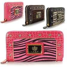 Ladies Larg LYDC Croc Fur Animal Print Diamante Zip Hand Purse Wallet Clutch Bag