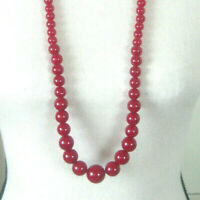 Vintage 32 Inch Red Graduated Bead Necklace