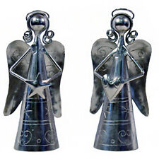 Angel Shaped Handheld Bell Set With Heart & Star Handmade Metal Fair Trade