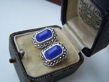 DELIGHTFUL VINTAGE SOLID STERLING SILVER BLUE CHALCEDONY MARCASITE EARRINGS RARE