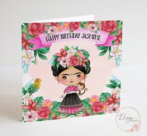 FRIDA KAHLO Birthday Card - Personalised - Artist Floral