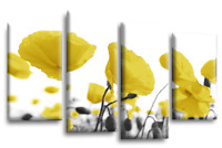 Le Reve Floral Wall Art Yellow Grey White Canvas Print Poppy Flowers Split Panel