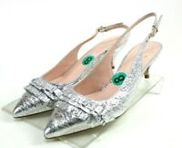 Kate Spade NWOB Women's Slingback Low Heels Shoes Size 9 Silver Made In Italy