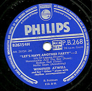 UK No.1 XMAS 1954 WINIFRED ATWELL 78  LET'S HAVE ANOTHER PARTY PHILIPS PB 268 E-
