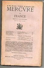 Mercure de France revue n°876 1934 Balzac, école de théâtre, Pierre Louÿs