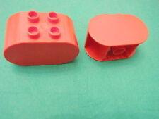 LEGO group DUPLO 2 mattoncini a ovetto rossi ovali rari