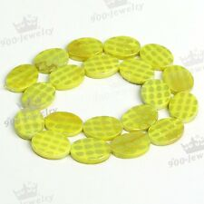 Yellow Natural Mother Of Pearl Shell Oval Spot Loose Bead For Charm Jewelry DIY